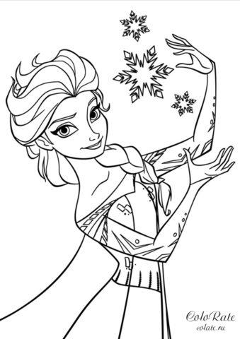 Раскраска Магия Эльзы - скачать и распечатать