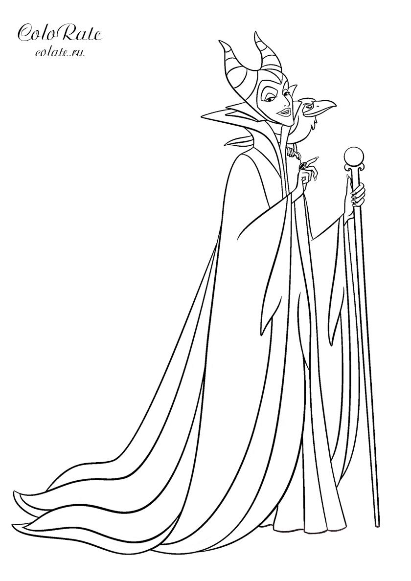 Раскраска Злая ведьма Малефисента распечатать | Спящая ...