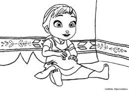 Анна в детстве - разукрашка из мультфильма Холодное сердце