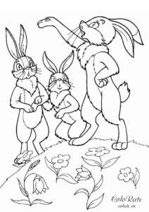 Маленький хвастунишка - раскраска зайца для детей