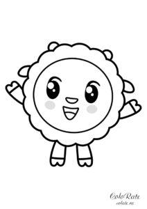 Раскраска для печати - Малышарики - Барашик
