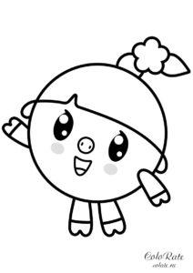 Раскраска для печати - Малышарики - Нюшенька