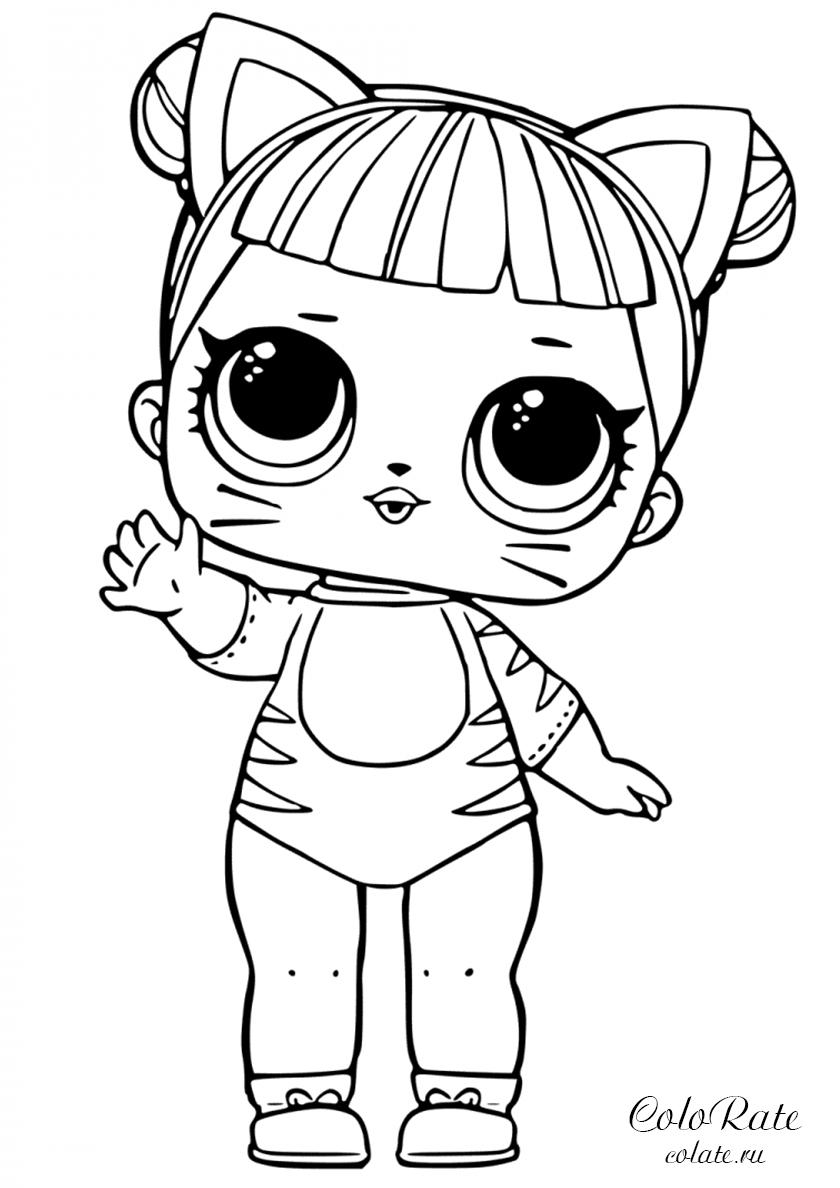 Раскраска Малышка Кошечка распечатать | Куклы ЛОЛ / L.O.L