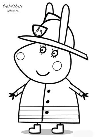 Мама Крольчиха в пожарной форме - бесплатная разукрашка из мультфильма Свинка Пеппа скачать и распечатать