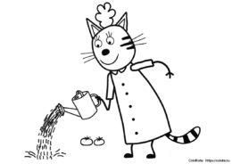 Мама котиков работает в саду - раскраска из мультфильма Три кота