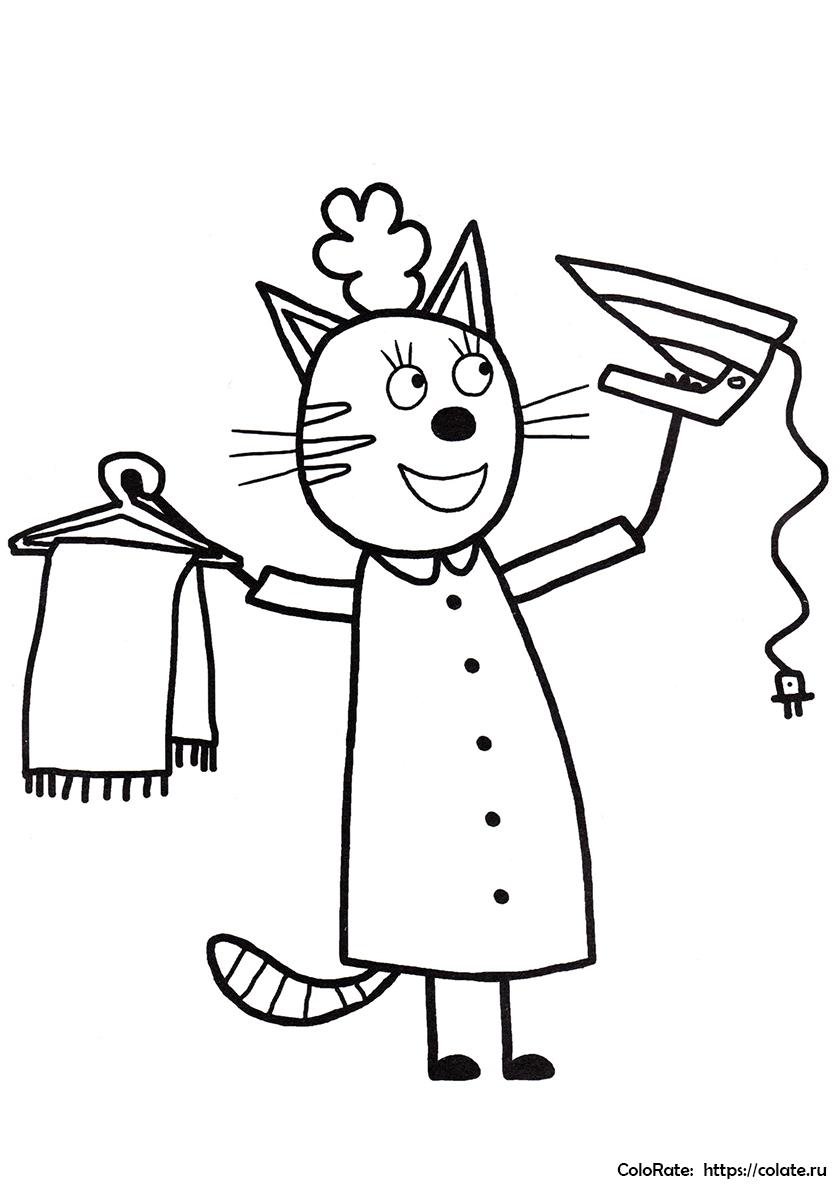 Раскраска Мама погладила шарф распечатать | Три кота