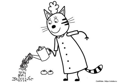 Три кота раскраска - Мама Кисуля в саду