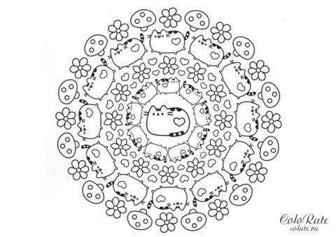 Мандала с растительностью разукрашка Pusheen the Cat для детей
