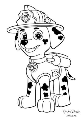 Щенячий патруль - раскраска с Маршалом
