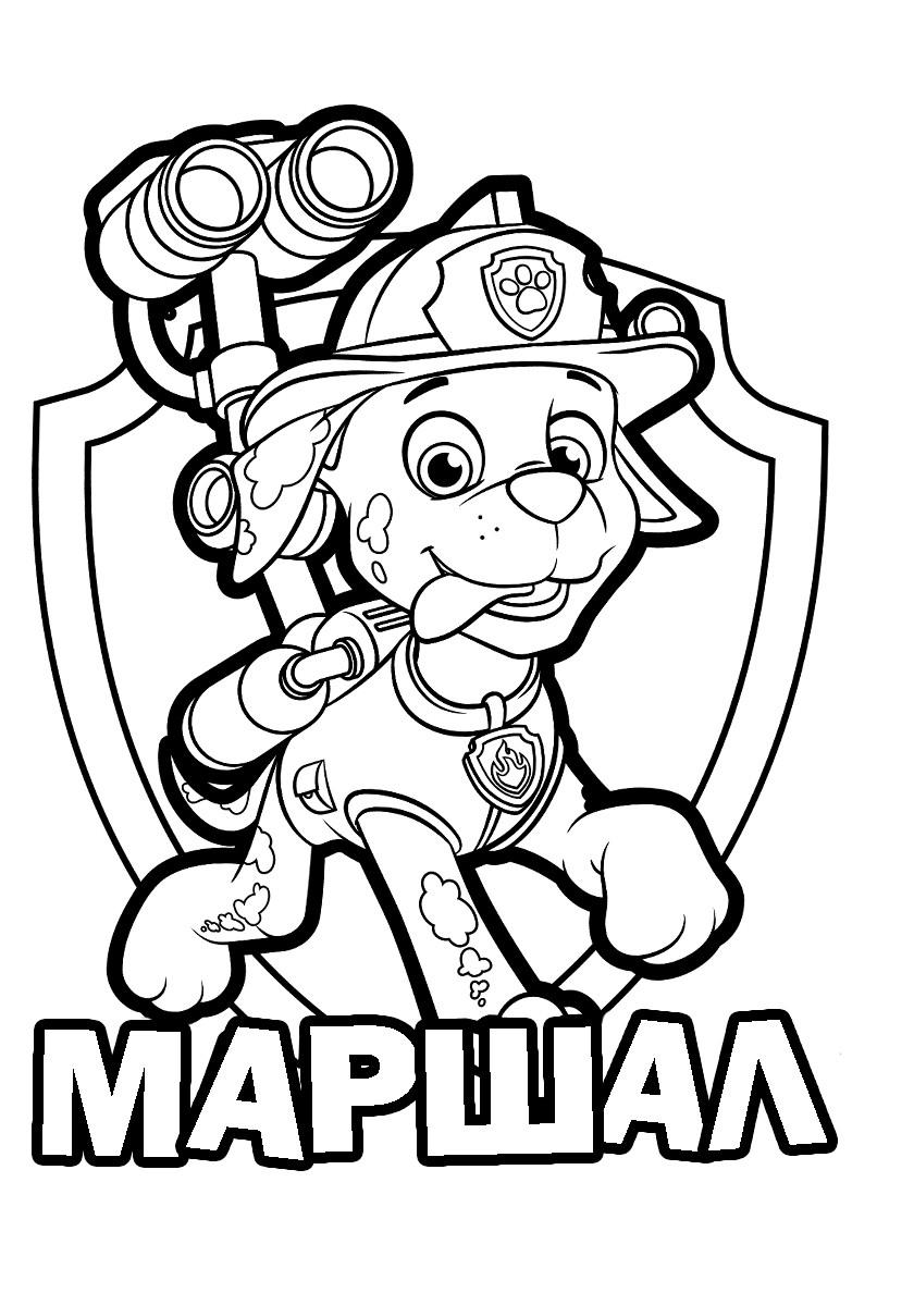 Раскраска - значок с Маршалом из Щенячьего патруля распечатать