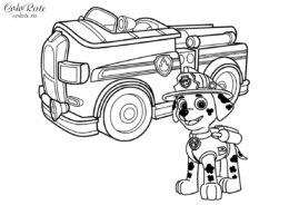 Маршал с пожарной машиной - разукрашка для детей