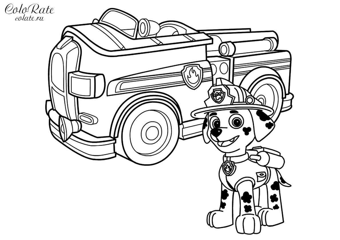 раскраска маршал с пожарной машиной распечатать щенячий