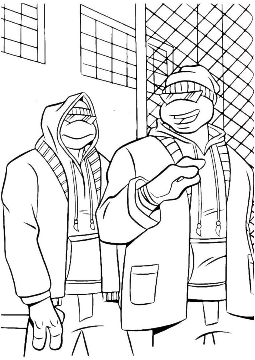 Раскраска Маскировка Черепашек-ниндзя распечатать на А4