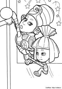 Раскраска с фиксиками Масей и Симкой для детей