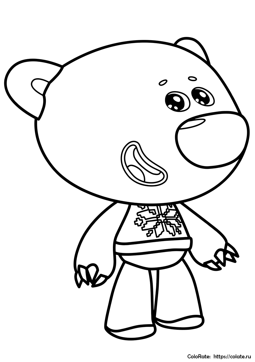 Раскраска Медвежонок Тучка распечатать | Ми-ми-мишки