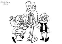 Бесплатная разукрашка Мэйбл, Диппер и Вэнди