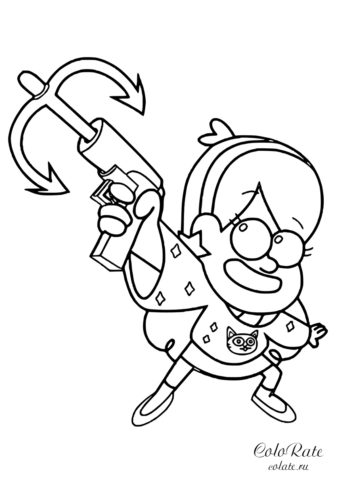 Мэйбл с гарпуном - скачать и распечатать раскраску по мультфильму Гравити Фолз