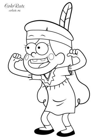 Мэйбл в костюме индейца - раскраска по мультфильму Гравити Фолз для детей