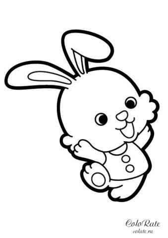 Разукрашка с милым зайчонком для детей