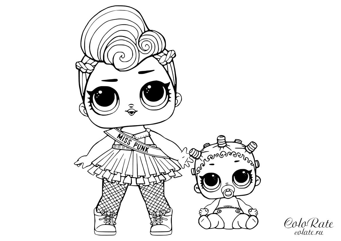 Раскраска Мисс Панк и маленькая сестра распечатать | Куклы ...