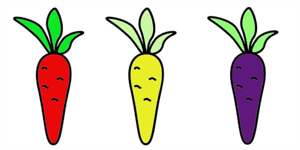 Морковь - примеры раскрашивания