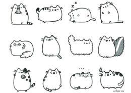 Раскраска с кошкой Пушин для детей