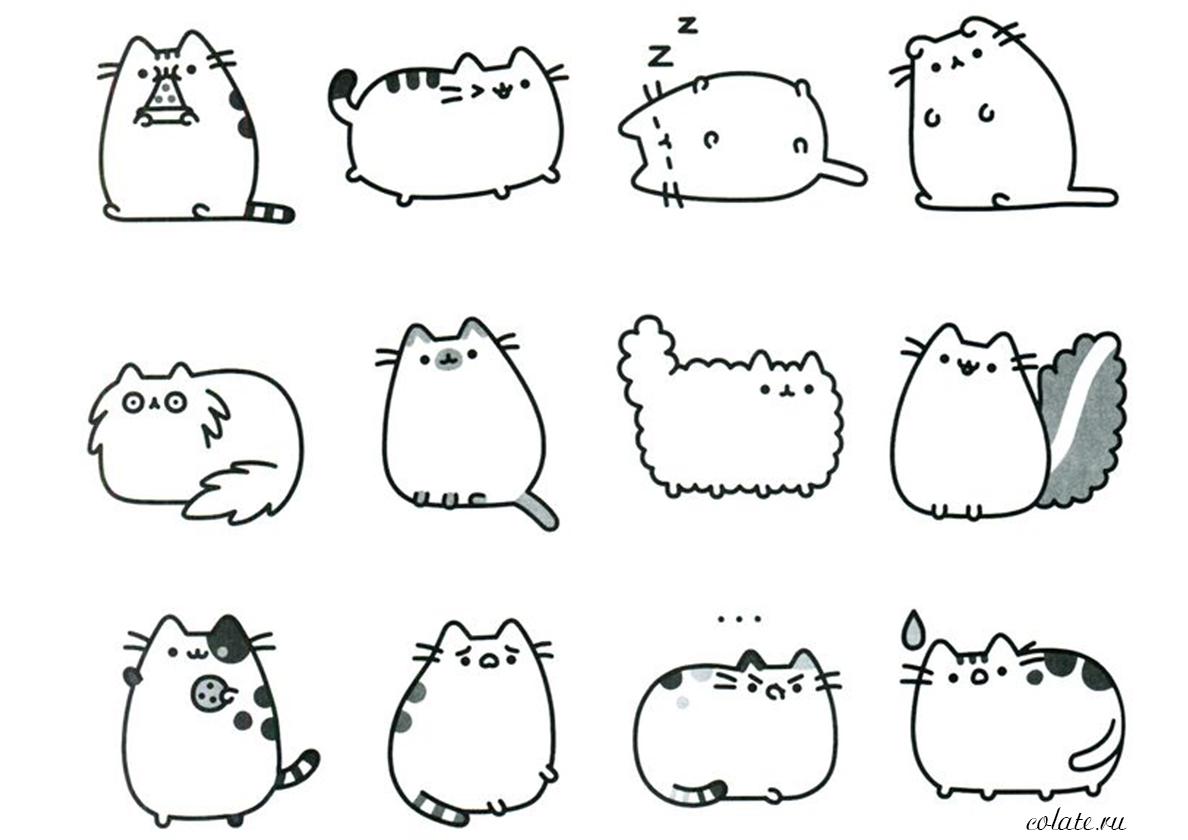 Раскраска Набор кошек Пушин распечатать | Pusheen Cat