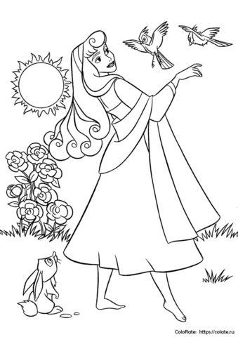 Наедине с природой - раскраска Спящей красавицы бесплатно
