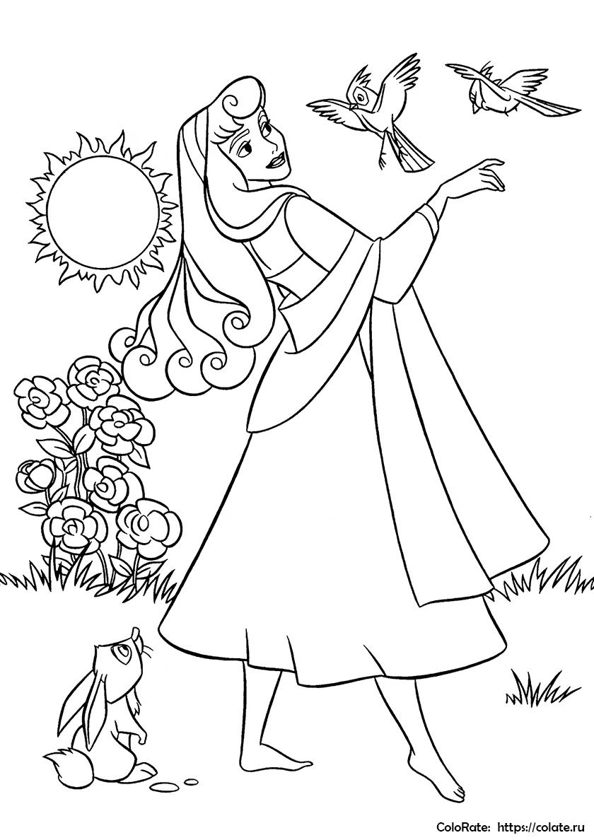 Раскраска Наедине с природой распечатать | Принцесса Аврора