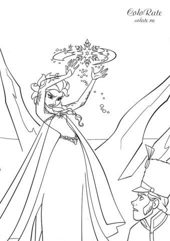 Раскраска с колдующей Эльзой из мультфильма Холодное сердце