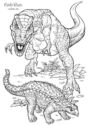 """Бесплатная раскраска """"Нападение тиранозавра"""" скачать и распечатать на А4"""