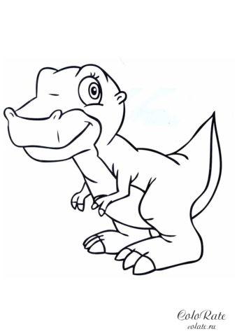 Нарисованный тираннозавр - раскраска для печати