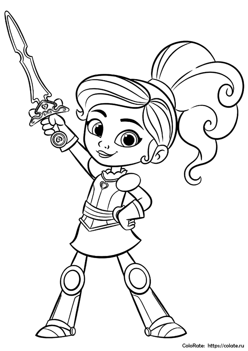 Раскраска Нелла - Принцесса-Рыцарь по мультфильму распечатать
