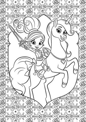 Нелла - принцесса-рыцарь - бесплатная раскраска распечатать на А4