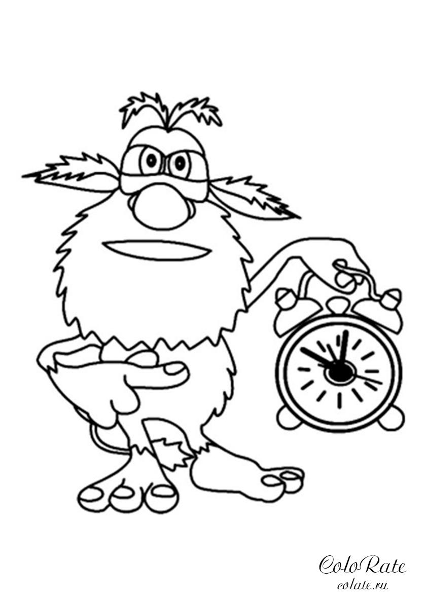 Раскраска Несносный будильник распечатать | Буба мультфильм