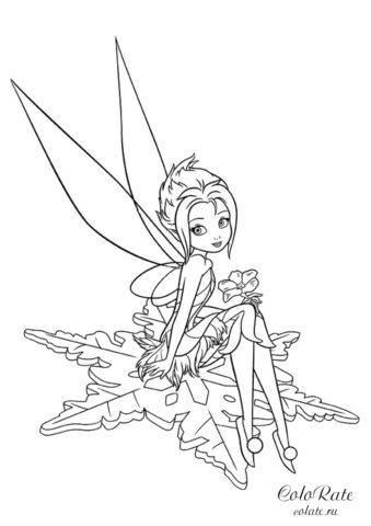 Раскраска по мультфильму Феи - Незабудка на снежинке