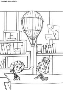 Нолик и Симка - раскраска из мультфильма Фиксики для детей