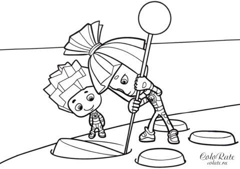 Детская раскраска - Нолик и Симка чинят пульт - Фиксики