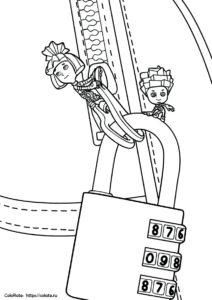 Разукрашка Нолик и Симка у кодового замка - мультфильм Фиксики