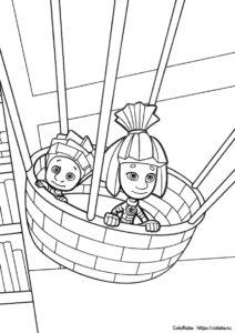 Разукрашка - Нолик и Симка в корзине шара - из мультика Фиксики скачать и распечатать