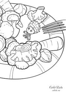 Раскраска Нолик на тарелке из Фиксиков для детей