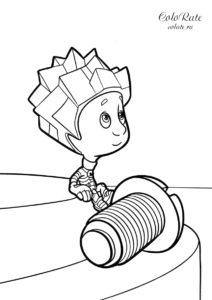 Раскраска Нолик с винтиком из мультика Фиксики для детей