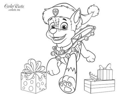 Новогодний Гонщик - раскраска по Щенячьему патрулю скачать и распечатать