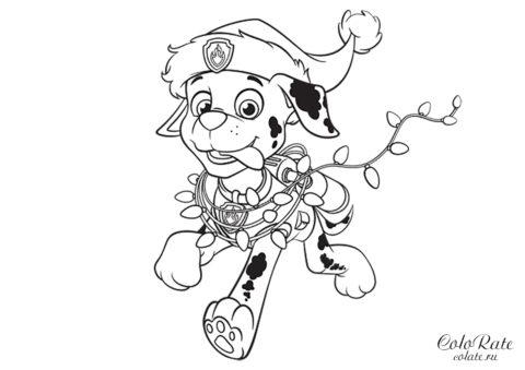 Бесплатная раскраска Новогодний Маршал - Щенячий патруль