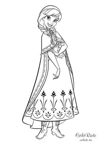Раскраска по мультфильму холодное сердце с принцессой Анной