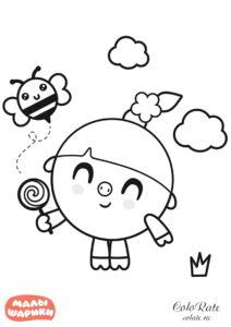 Раскраска - Нюшенька с леденцом в руках - Малышарики