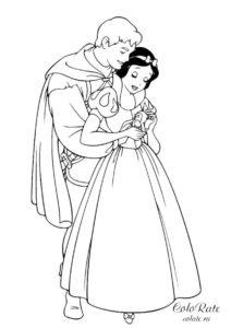Принц обнимает Белоснежку - разукрашка для девочек
