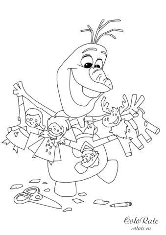 Олаф делает гирлянду - раскраска для детей