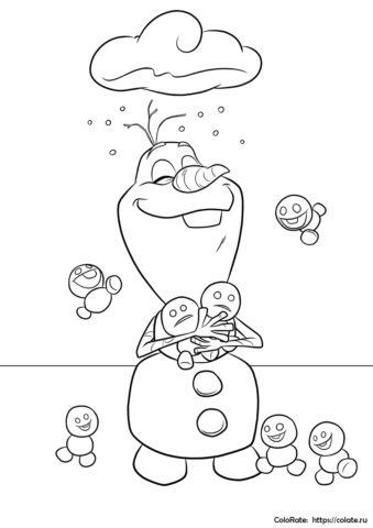 Олаф и маленькие снеговички - разукрашка для детей распечатать и скачать
