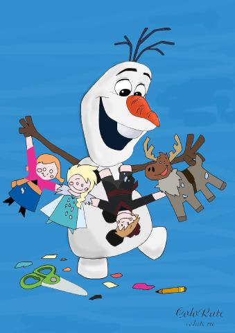 Как раскрасить Олафа из мультфильма Холодное сердце